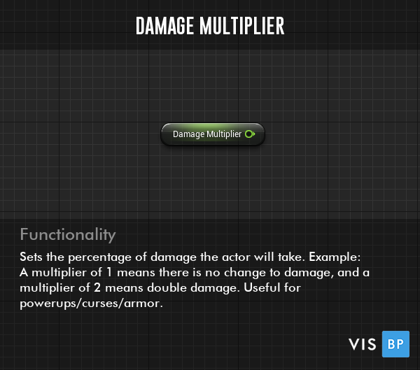 Damage Multiplier Setting - Sets the percentage of damage the actor will take. Example: A multiplier of 1 means there is no change to damage, and a multiplier of 2 means double damage. Useful for powerups/curses/armor.